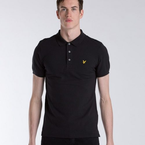 Lyle Scott Basic Short Sleeve Polo Shirt Black Lyle Scott Mens Polo Shirts - Men Lyle Scott C 399_LRG